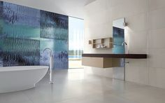 colectia HILITE-Mistero Blu - pictura pe placa ceramica de 300×150 cm realizata de IRIS Ceramica in colaborare cu un artist italian celebru-Erio Carnevali. Contact: office@lastreceramice.ro