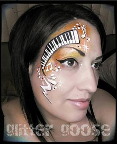 Piano Keys! Face painting by Glitter Goose ( music keyboard art paint painter )