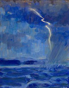 Santeri Salokivi (Finnish Myrsky merellä [Storm at Sea], Oil on panel, 42 x 33 cm. Chur, Nordic Art, Digital Museum, Deep Blue Sea, Collaborative Art, Modern Artists, Paintings I Love, Artist Painting, Landscape Paintings