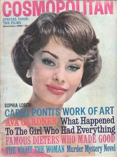 Cosmopolitan magazine, NOVEMBER 1962 Sophia Loren on cover