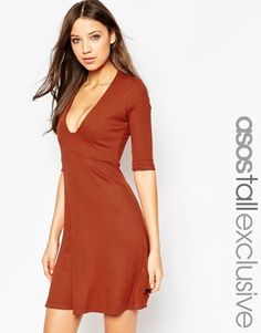 99df0b6ac6 ASOS TALL Plunge Square Front Mini Skater Dress at asos.com