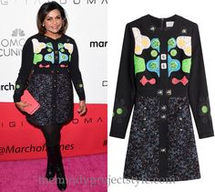 Mindy's wearing this embroidered and embellished dress to the March of Dimes' Celebration of Babies luncheon