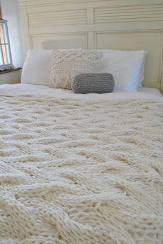 Chunky Cable Knit Blanket In Cream Irish Wool Throw Twin