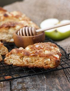 Easy Apple Buttermilk and Honey Scones - filled with apples and sweetened only with honey.