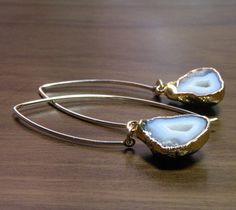 Gray Half Geode Druzy Earrings 24K Gold by elizabethlydonstudio, $85.00