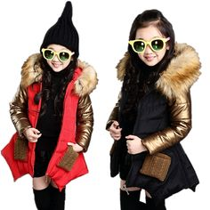 27.84$  Buy here - http://alizy8.shopchina.info/go.php?t=32694160063 - Winter Girls Fur Hoodies Down Jacket Coat Thicken padded Children Outerwear Clothes Costume Kids Parka Blazer Jackets For Girls  #aliexpresschina