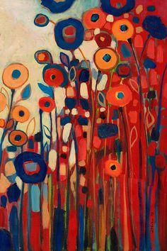 """Jennifer Lommers. Modern Abstract Garden, """"Meet Me In My Garden Dreams Part 2"""", 12 x 18 Fine Art Print by Jenlo. $65.00, via Etsy."""