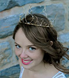 Gold Wire Crown with Swarovski crystals by WirePrincess on Etsy, $72.00