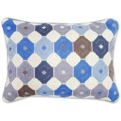 Jonathan Adler Blue And Grey Chamomile Bargello Throw Pillow