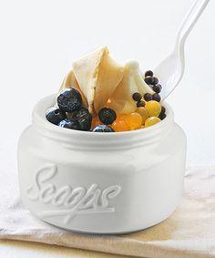 White mason scoop bowl
