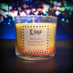 Luna Scented 4 oz Candle: Mistletoe, Sun Flowers, and Dirigible Plums from Mud In My Blood