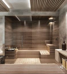 40 Beautiful Sauna Design Ideas For Your Bathroom – Home Decor On a Budget Bathroom Home Spa Room, Spa Rooms, Sauna Steam Room, Sauna Room, Modern Saunas, Bathroom Spa, Remodel Bathroom, Bathroom Ideas, Master Bathrooms