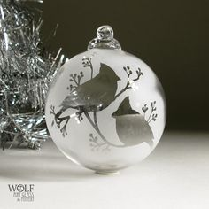 Etched Glass Christmas Ornament Snow Cardinals and by wolfartglass, $45.00