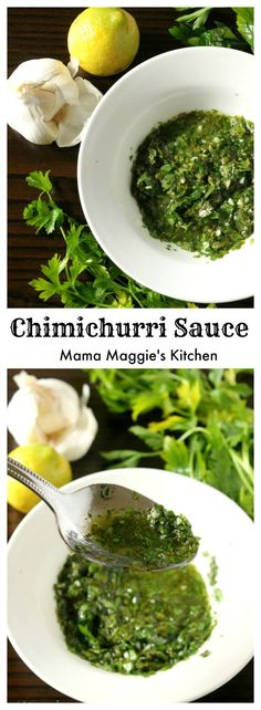 Chimichurri Sauce is an uncooked, herb garlic sauce that is used on grilled meat. Serve it at your next BBQ. Everyone will love it! By Mama Maggies Kitchen