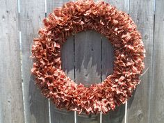 Cottage Red Christmas Rag Wreath Homespun by RagWreathBoutique, $65.00