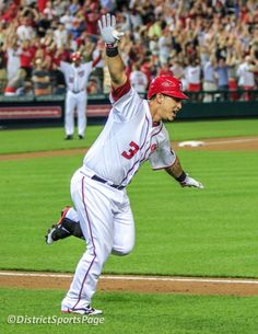 """Nationals Wilson Ramos doing the """"airplane"""" from home to on his walk-off PH single win over Phillies, I'm so happy for him. Did u see the special about him on MASN? Washington Nationals Baseball, America's Pastime, Airplane, Ph, Athlete, Baseball Cards, Boys, Happy, Sports"""
