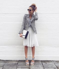 #leather #jacket #chiffon #skirt