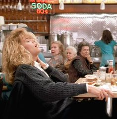 """Meg Ryan - When Harry Met Sally (1989) fake orgasm scene, with director Rob Reiner's mother Estelle looking on. """"I'll have what she's having."""""""