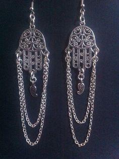 Hamsa Hand Earrings Protection Jewelry Gypsy by RedGypsyJewelry