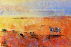 Painting: 'Zebras At Dawn' Australian Artists, Zebras, Landscape Paintings, Wildlife, Birds, Altered Art, Dawn, Bird, Dapple Grey Horses