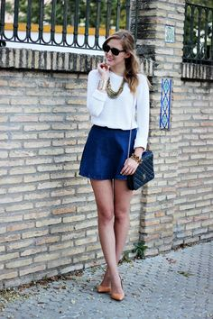 Outfit with heels of the brand Zara Zara Skirts, Sophia Loren, Image Collection, Flare Skirt, More Photos, Casual Looks, Denim Skirt, Mini Skirts, Style Inspiration