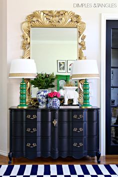 Indoor spaces with lovely painted navy chest and green lamps-Entry  ||  Foyer  ||  Dimples and Tangles