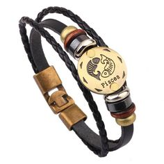 fishhook 12 Constellations Aries Sign Wristband Leather Bracelet for Man and Women ZePpTS