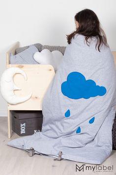 Pościel dziecięca Blue Drop, łóżeczko ze sklejki, jersey kids bedding, cotton kids bedding, grey kids interiors