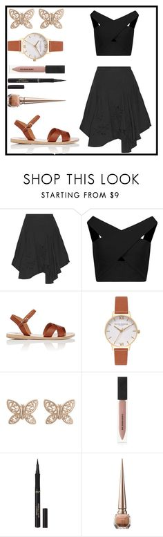 """Black skirt"" by rainy-dayze ❤ liked on Polyvore featuring Halston Heritage, Michelle Mason, Ancient Greek Sandals, Olivia Burton, Candela, Burberry, L'Oréal Paris and Christian Louboutin"