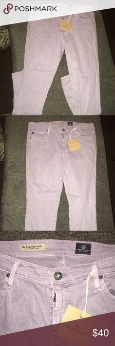 Light purple Adriano Goldschmied Jeans size 31R These pants still have tags attached, Adriano Goldschmied, size 31R. Light purple color. The Legging Ankle super skinny ankle  Make an offer on anything in my closet!! Ag Adriano Goldschmied Pants Skinny