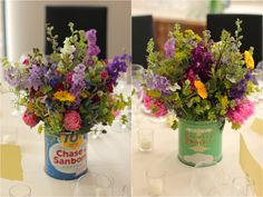 swap out pink for orange/yellow for the centerpieces. this is the wildflower look in great old cans.