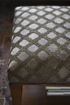 Ottoman table in Otello fabric. By Beaumont & Fletcher. As seen at Decorex 2016.