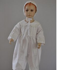 a9edb7125551f Baptism dress traditional beautiful boy outfit christening baby bonnet  combination and removable skirt with long sleeves Made in France