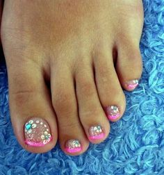 Pink French pedi with turquoise jewel and gold glitter