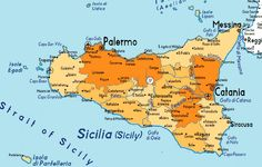 Map of Sicily (Sicilia) Thermal Paint, Italy Map, Regions Of Italy, Messina, Catania, Sicilian, Bari, Under Construction, Beautiful Islands