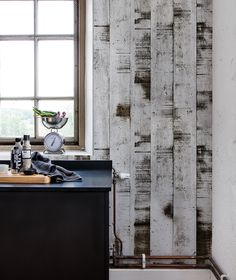 Combining the versatile look of birches with the scratchy feel of industrial metal – this mural will give your home an earthy atmosphere and yet a bit Trinity House, Industrial Wallpaper, Brick And Mortar, Aarhus, Industrial Metal, Home Wallpaper, Designer Wallpaper, Decoration, Wall Murals
