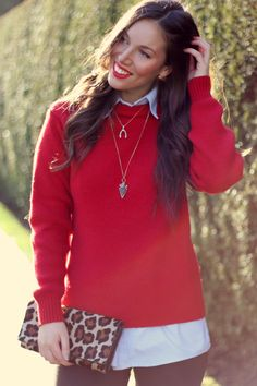 To Vogue Or Bust wearing Brooklyn Designs Long Arrowhead Necklace. Alexandra Grant, Red Sweaters, Style Blog, My Style, Preppy, Personal Style, Winter Fashion, Vogue, Vancouver