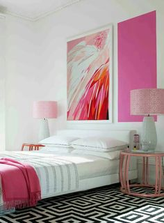 Pink graphic, ?colour to define gender of a room