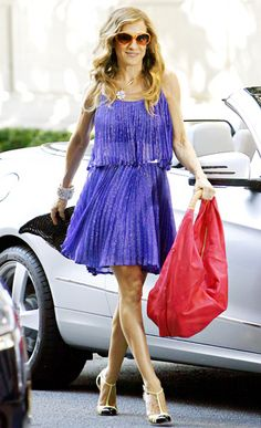 SATC- Sarah Jessica Parker shined in a Halston Heritage cocktail dress.