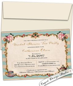 High Tea Bridal shower party invitations. Vintage. by CupidDesigns