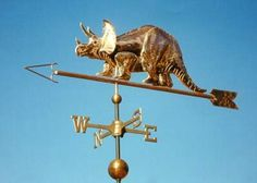 Dinosaur Weather Vane, Triceratops by West Coast Weather Vanes.  This Dinosaur wethervane can be made using a variety of metals including copper and brass with optional gold and palladium leafing.