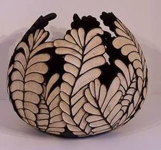 African Fern Leaf Carved Bowl