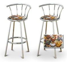 """2 Chicken Specialty / Custom Chrome Barstools with Backrest Set by The Furniture Cove. $154.88. Chicken and Hen Fabric Print Seat. Back Rest and Foot Rest. Chrome Finish. 24"""" Tall to Seat. Swivel Seat. These are new, 24"""" chrome bar stools with footrests and swivel seats with a backrest! These Feature chicken hen fabric seats that are cool and unique. The pads are 14"""" across and the seat is 24"""" tall. The entire height is 34"""". The sides of the seat have nice metal work and th..."""