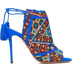 Aquazzura 'Colorado' Booties (7.490 ARS) ❤ liked on Polyvore featuring shoes, boots, ankle booties, sandale, multicolor, blue leather boots, blue stilettos, embroidered boots, embroidered booties and blue boots