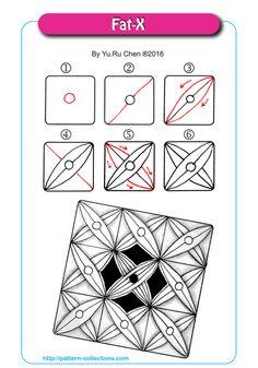 Fat-X tangle pattern by Yu Ru Chen Zentangle Drawings, Doodles Zentangles, Doodle Drawings, Zen Doodle Patterns, Zentangle Patterns, Tangle Doodle, Tangle Art, Arte Linear, Blackwork