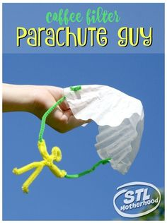 Filter Parachute Guy This DIY parachute guy is a perfect project to get kids outside and play! Made from coffee filters and fuzzy sticks!This DIY parachute guy is a perfect project to get kids outside and play! Made from coffee filters and fuzzy sticks! Coffee Filter Crafts, Coffee Crafts, Coffee Filters, Coffee Filter Art, Diy Crafts For Kids, Projects For Kids, Fun Crafts, Craft Ideas, Art Projects