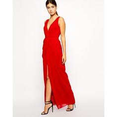 VLabel London Windsor Drape Front Maxi Dress ($79) found on Polyvore
