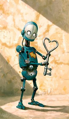 Robot by Per Haagensen. Art And Illustration, Illustrations, Character Illustration, Arte Robot, Robot Art, Lapin Art, Sculpture Metal, Retro Robot, Found Object Art
