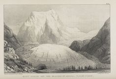 Mont Collon and the Arolla Glacier in 1842. The ice is much higher here than it is in the present day (a temporary period of glacial retreat).