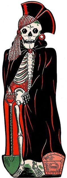 "1952 Beistle 'Skeleton Pirate' Embossed Die Cut Decoration. Size 18"""
